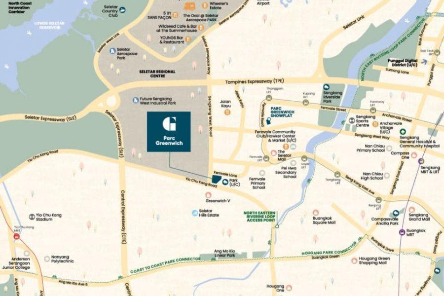 Parc Greenwich EC Location Map